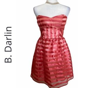 B. Darlin Coral Strapless Organza Striped Dress